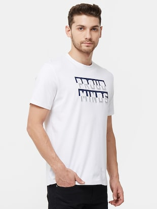 white typographic chest print t-shirt - 16099997 - Standard Image - 2