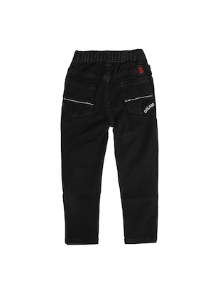 black denim  patched jeans  - 16100895 - Standard Image - 2