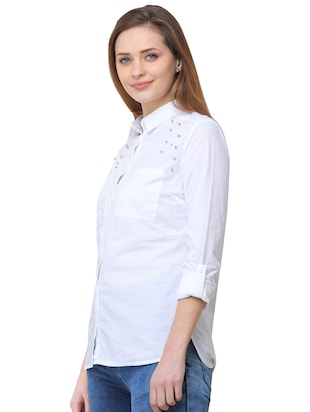 pocket patch pearl embellished shirt - 16104489 - Standard Image - 2