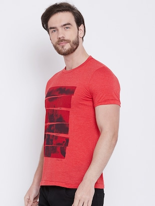 red front print t-shirt - 16105903 - Standard Image - 2