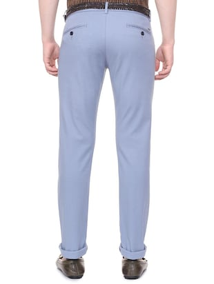 blue solid chinos - 16106853 - Standard Image - 2
