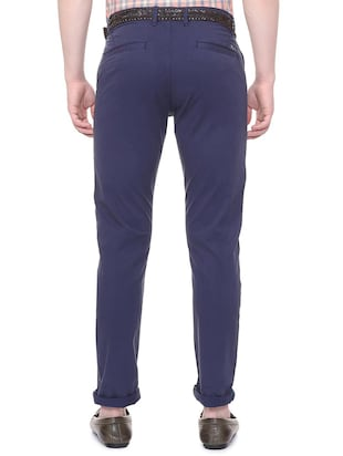 blue solid chinos  - 16106856 - Standard Image - 2