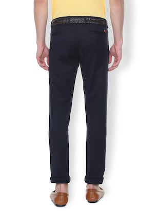 navy blue solid chinos - 16106862 - Standard Image - 2