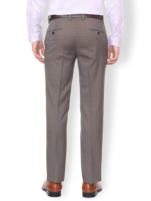 grey polyester blend flat front formal trouser - 16106896 - Standard Image - 2