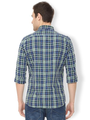 blue checkered casual shirt - 16106963 - Standard Image - 2