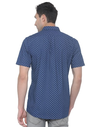 blue printed casual shirt - 16107131 - Standard Image - 2