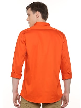 orange solid casual shirt - 16107182 - Standard Image - 2