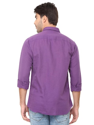 purple solid casual shirt - 16107461 - Standard Image - 2