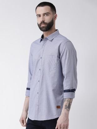 blue printed casual shirt - 16109483 - Standard Image - 2