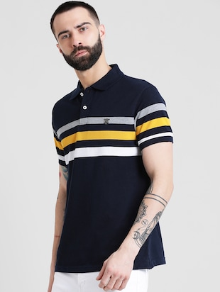 navy blue striped polo t-shirt - 16109682 - Standard Image - 2