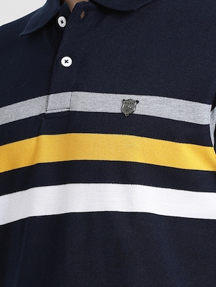 navy blue striped polo t-shirt - 16109682 - Standard Image - 5