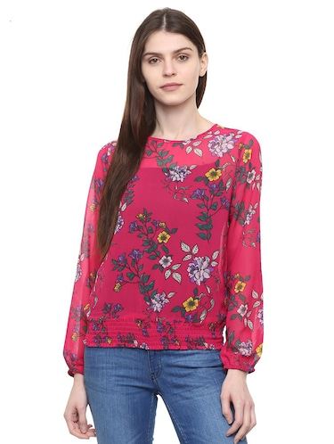 f1e4367f6be Buy Pink Printed Crepe Top for Women from Mayra for ₹727 at 27% off | 2019  Limeroad.com