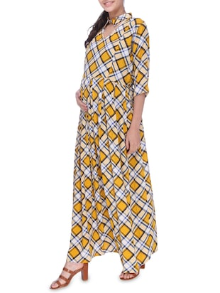 checkered maternity wear dress - 16114820 - Standard Image - 2