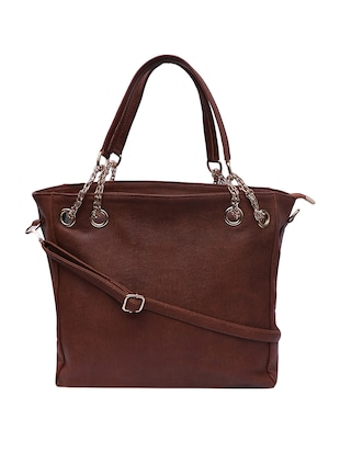 brown leatherette (pu) handbag and pouch combo - 16131945 - Standard Image - 2