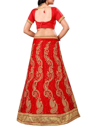 red paisley embroidered a-line lehenga - 16132303 - Standard Image - 2