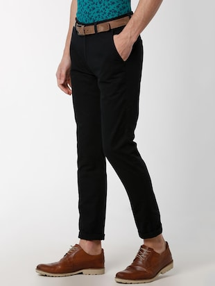 black solid chinos - 16137409 - Standard Image - 2