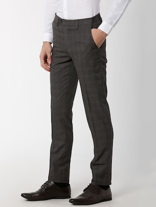 grey polyester blend flat front formal trouser - 16137414 - Standard Image - 2