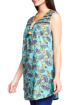 turquoise floral a-line kurti - 16140637 - Standard Image - 2