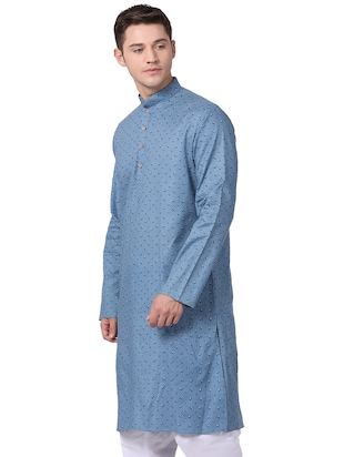 blue cotton long kurta - 16141794 - Standard Image - 2