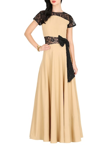 contrast lace bow detail maxi dress - 16143055 - Standard Image - 1