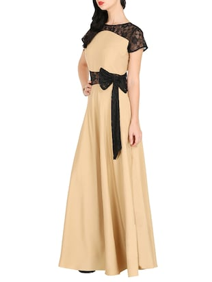 contrast lace bow detail maxi dress - 16143055 - Standard Image - 2