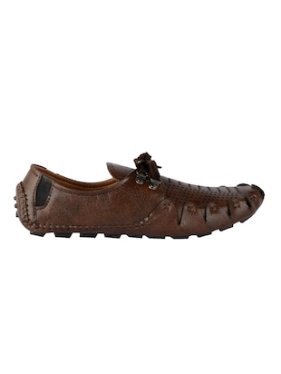 brown leatherette lace up shoes - 16158027 - Standard Image - 2