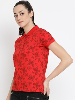 polo neck butterfly printed top - 16158976 - Standard Image - 2