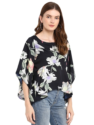 flared sleeved floral asymmetric top - 16159193 - Standard Image - 2