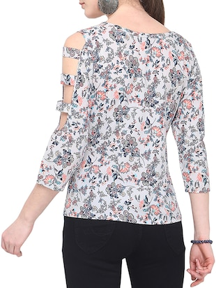 cut out sleeved floral top - 16183835 - Standard Image - 2