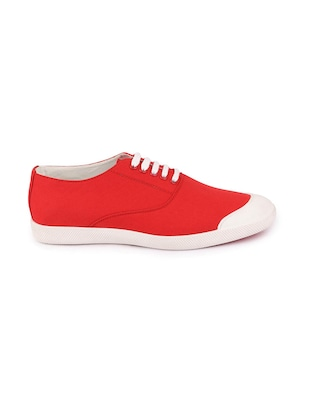 red canvas lace up sneakers - 16187850 - Standard Image - 2