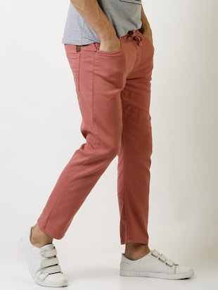 red solid plain jeans - 16196678 - Standard Image - 2