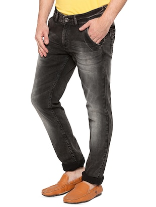 black heavy washed jeans - 16197867 - Standard Image - 2