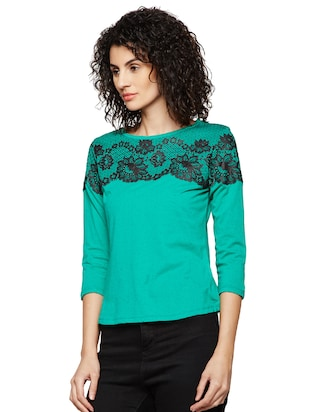 lace detailed round neck top - 16198418 - Standard Image - 2