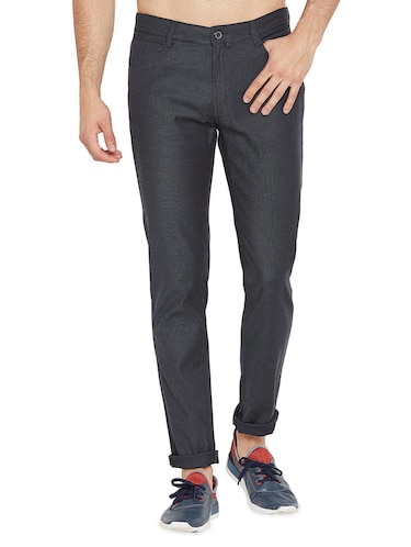 blue solid chinos - 16200145 - Standard Image - 1