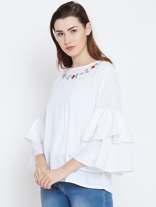 bell sleeved embroidered top - 16208499 - Standard Image - 2