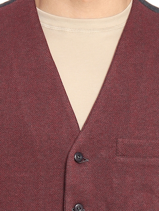 red solid waist coat - 16217862 - Standard Image - 5