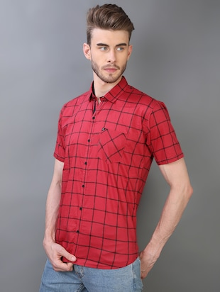 red checkered casual shirt - 16219172 - Standard Image - 2