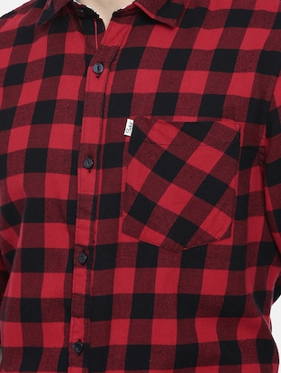 red checkered casual shirt - 16220786 - Standard Image - 5