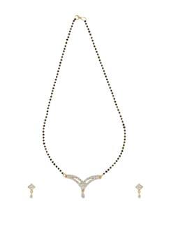 Curved Gold Diamond Mangalsutra Set - Oleva