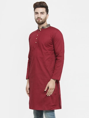 red solid long kurta - 16226449 - Standard Image - 2
