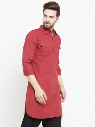 red solid pathani kurta - 16226454 - Standard Image - 2