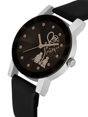 New Stylish Love Cupal Printed Analog Crystal Glass Watch - For Women  - 16227378 - Standard Image - 2