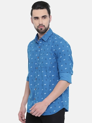 blue printed casual shirt - 16229049 - Standard Image - 2