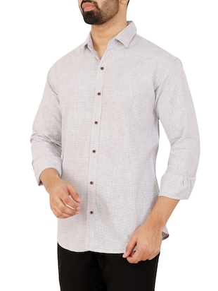 grey checkered casual shirt - 16238259 - Standard Image - 2
