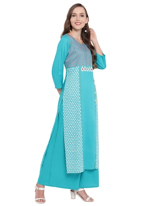 Block printed kurta with palazzo set - 16242351 - Standard Image - 2