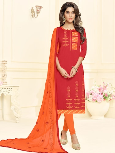 Embroidered churidaar unstitched suit - 16242484 - Standard Image - 1