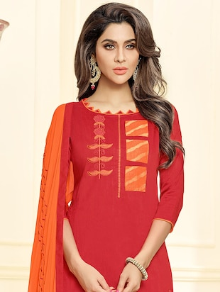 Embroidered churidaar unstitched suit - 16242484 - Standard Image - 2