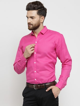 pink solid casual shirt - 16244032 - Standard Image - 2