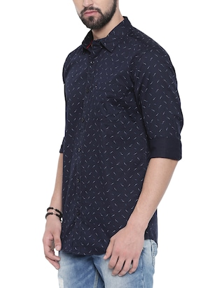 navy blue printed casual shirt - 16245488 - Standard Image - 2