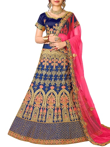 floral embroidered a-line lehenga - 16257513 - Standard Image - 1